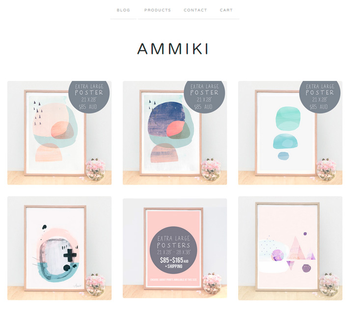 screen grab showing ammiki online shop