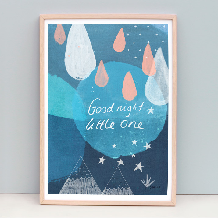 art print of of painting of an abstract moon and stars with raindrops